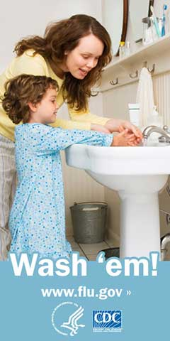CDC photo of parent and child washing hands