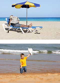 news montage: man reading a paper at the beach; boy playing with newspaper airplane at the beach